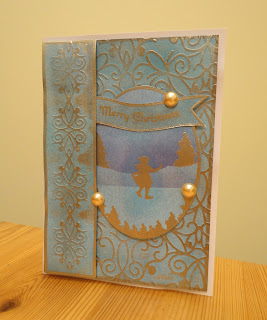 Blue and gold shabby chic Christmas Card with ice skating girl