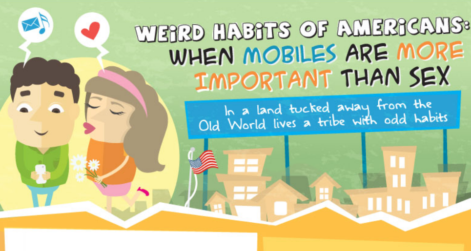 Comparison of Americans' Weird Habits: Smartphones Are More Important Than Sex And Waffles Measure Storm Severity - infographic