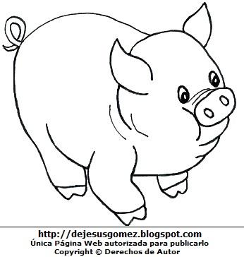 Dibujo de cerdo para niños para colorear o pintar. Dibujo de cerdo de Jesus Gómez