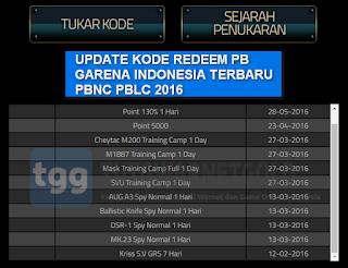 Kode Reedem PB Garena Indonesia 2016, Dapat Senjata Gratis [UPDATED]