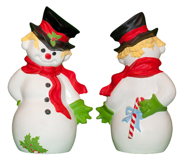 A hand-painted ceramic snowman with black tophat and red scarf, showing the front and back views. His green gloves are holding a candy cane behind him.
