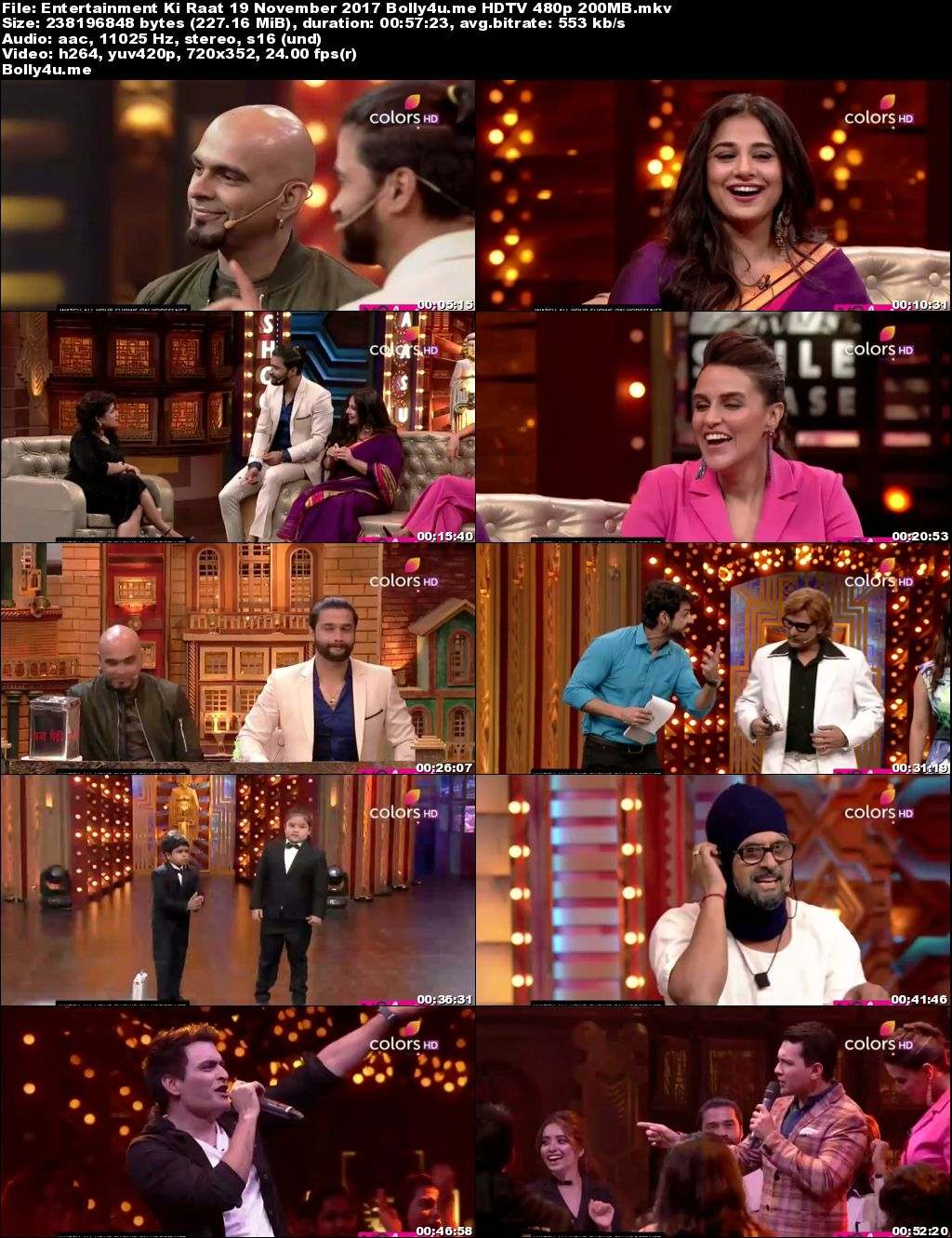 Entertainment Ki Raat HDTV 480p 200MB 19 November 2017 Download
