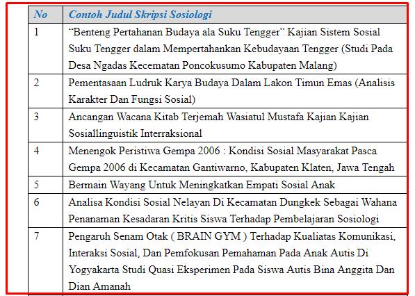 17 Contoh Judul Skripsi Sosiologi Terbaru Dan Terlengkap Seputarpembahasan Com