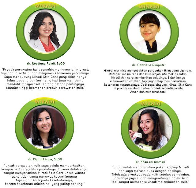 Komentar Para Dokter, Artis, model Mengenai Miradi Skin Care Products