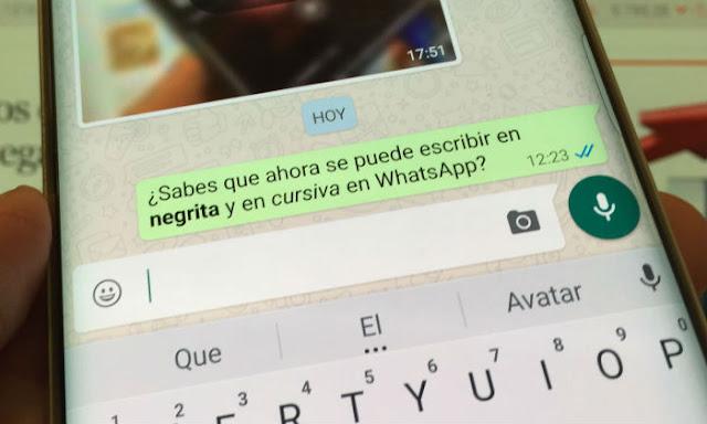 whatsapp negrita cursiva virgulillas