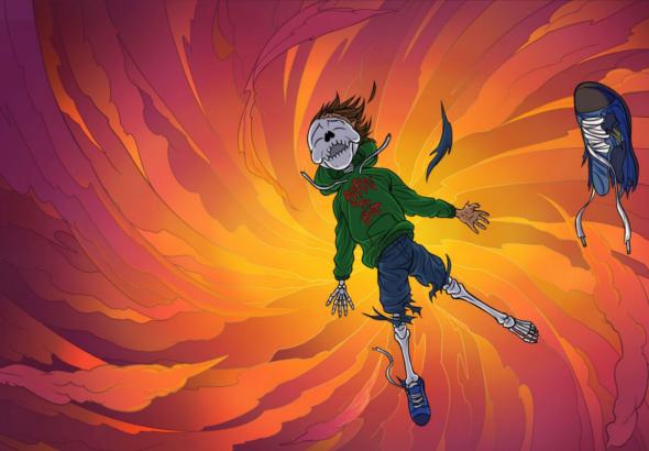 Un esqueleto, vestido con ropa de adolescente, cae al vacío.