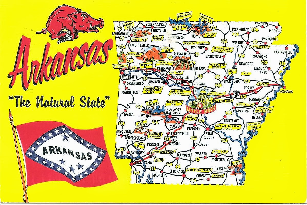 My Postcard Page Usa Arkansas Map