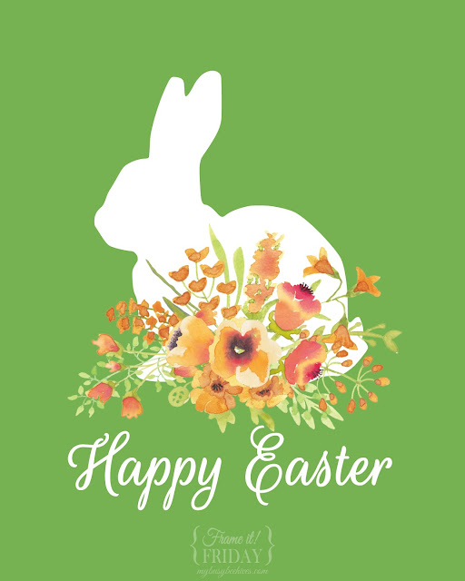 Happy Easter free printable with bunny and flowers