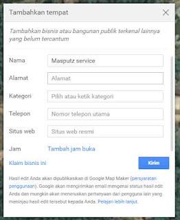 Mengisi kolom tempat di google maps