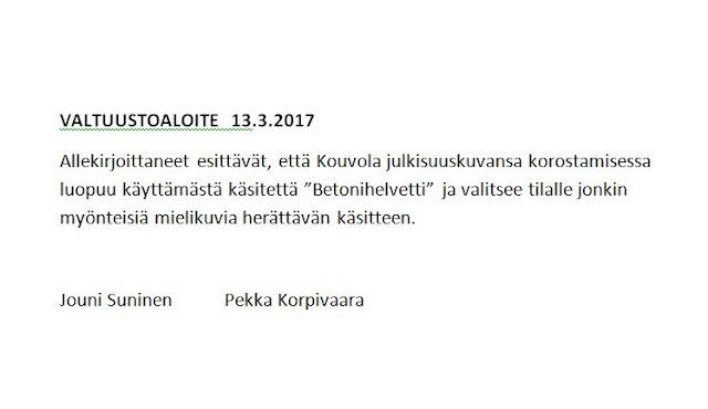 Pekka Korpivaara Kouvola valtuustoaloite 13.3.2017