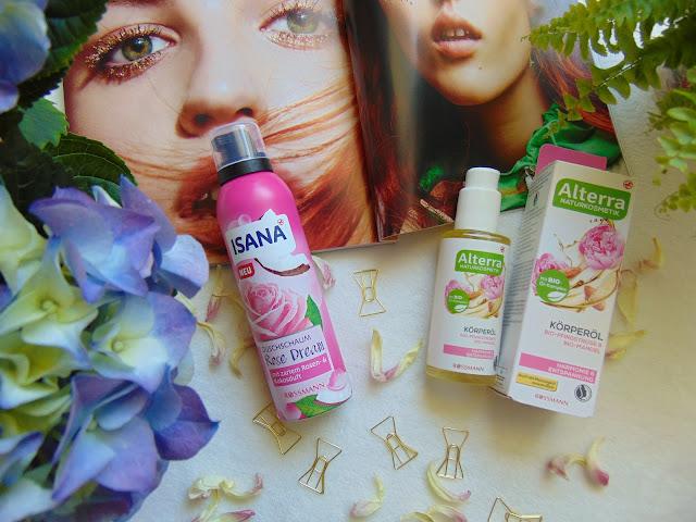 Isana Pianka pod prysznic róża i kokos oraz Olejek do ciała z Altertta Piwonia Bio i Migdał Bio