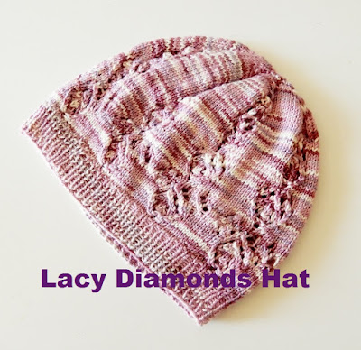 "Lace hat knitting pattern ""Lacy Diamonds Hat"""