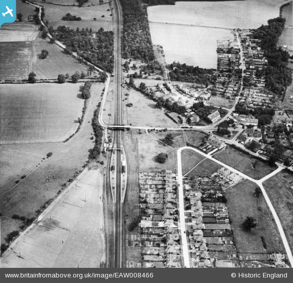Photograph of Brookmans Park Railway Station and the London & North Eastern Railway line (LNER), Brookmans Park, 1947
