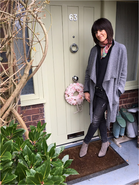 My Midlife Fashion, Zara draped wool coat, Charm churi silk scarf, zara distressed biker skinny jeans, silk shirt, grey suede ankle boots