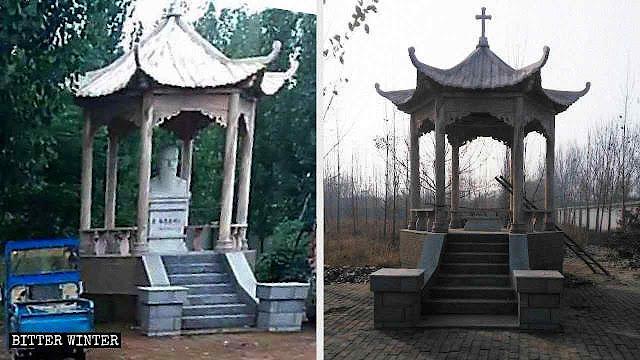 Um dos bustos de santos no condado de Wuyi, removidos pela perseguição anticristã