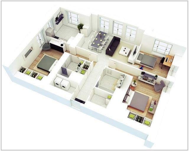 25 Gambar Denah Rumah Minimalis 3d Tiga Dimensi