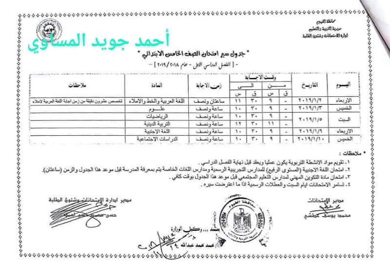 جدول امتحانات الصف الخامس الأبتدائي 2019 محافظة الفيوم