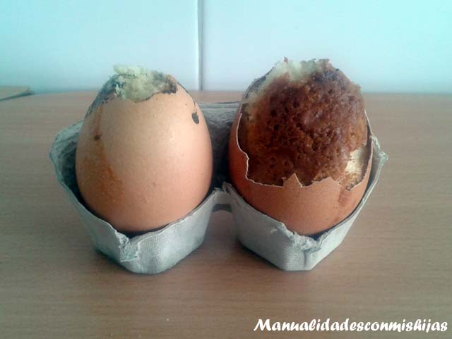 Bizcocho dentro de una cáscara de huevo