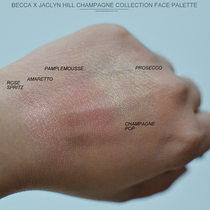 Becca Jaclyn Hill Collection - Face Palette - Swatches - Champagne Pop Prosecco Pop Highlighter Blush Rose Spritz Amaretto Pamplemousse - Swatches