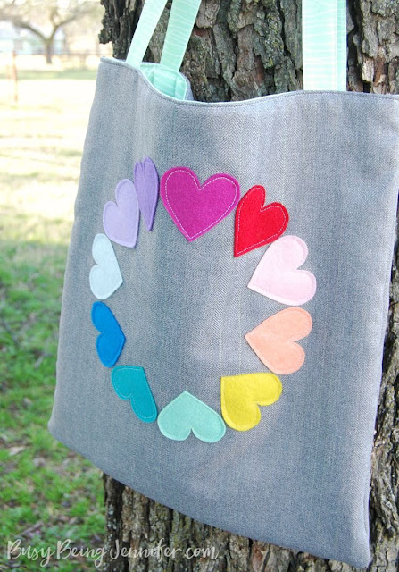 Felt heart rainbow tote. Easy sewing project.