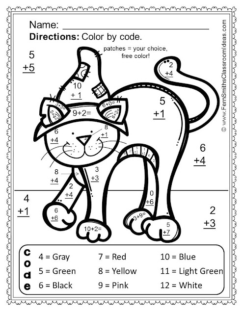 Fern Smith's Classroom Ideas Freebie Friday ~ FREE Halloween Fun! Basic Addition - Color Your Answers Printable Sample at Teacherspayteachers.