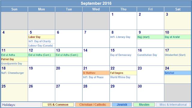 September 2016 Printable Calendar, September 2016 Calendar, September 2016 Calendar Printable, September 2016 Calendar Template, September Calendar, 2016 September Calendar