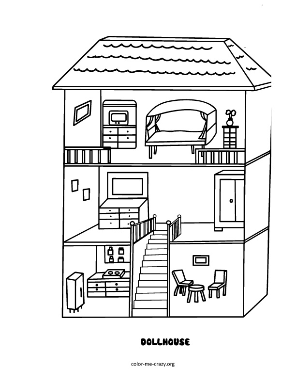 Inside House Drawing: ColorMeCrazy.org: Girls Favorite Things Printable Coloring