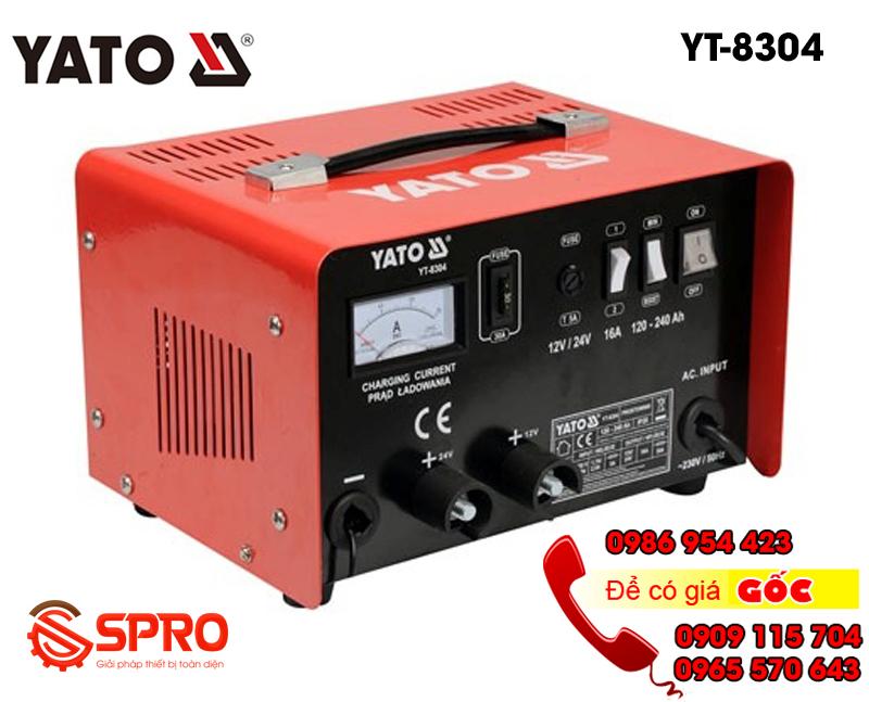 Máy sạc bình ắc quy, máy nạp bình điện ắc quy xe máy, ô tô YATO YT-8304