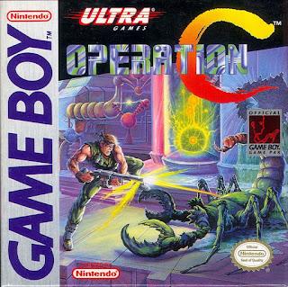 Portada del cartucho de GameBoy: Operation C (aka Contra, Probotector), Konami, 1991