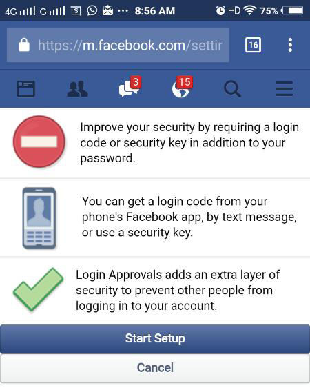 set up Two step verification facebook