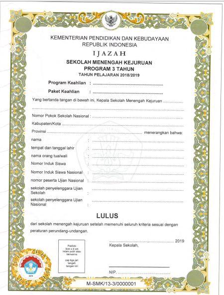 Blangko Ijazah SMK Tahun Pelajaran 2018/2019, http://www.librarypendidikan.com/