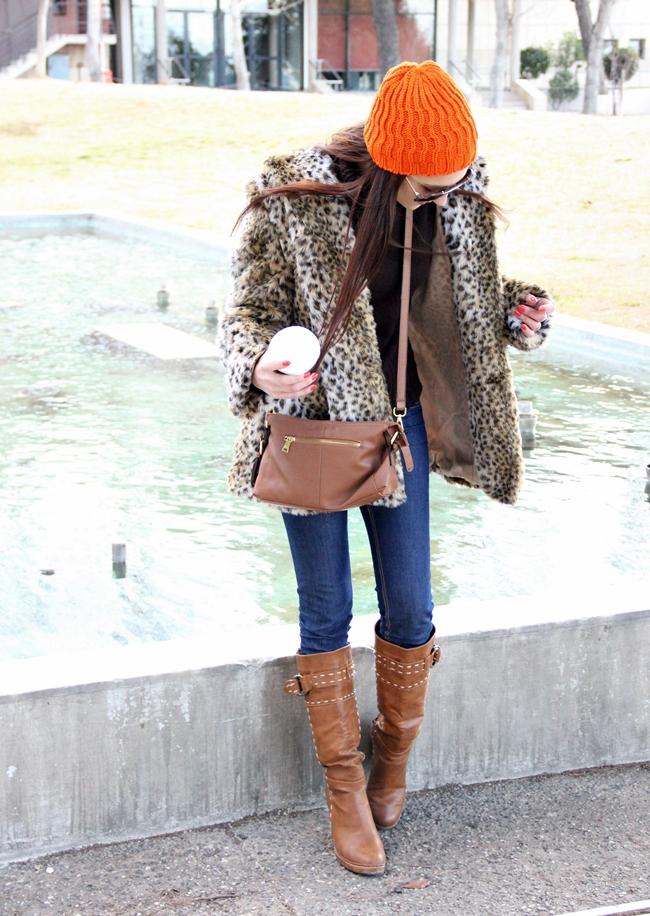 Leopard Print Faux Fur Coat outfit