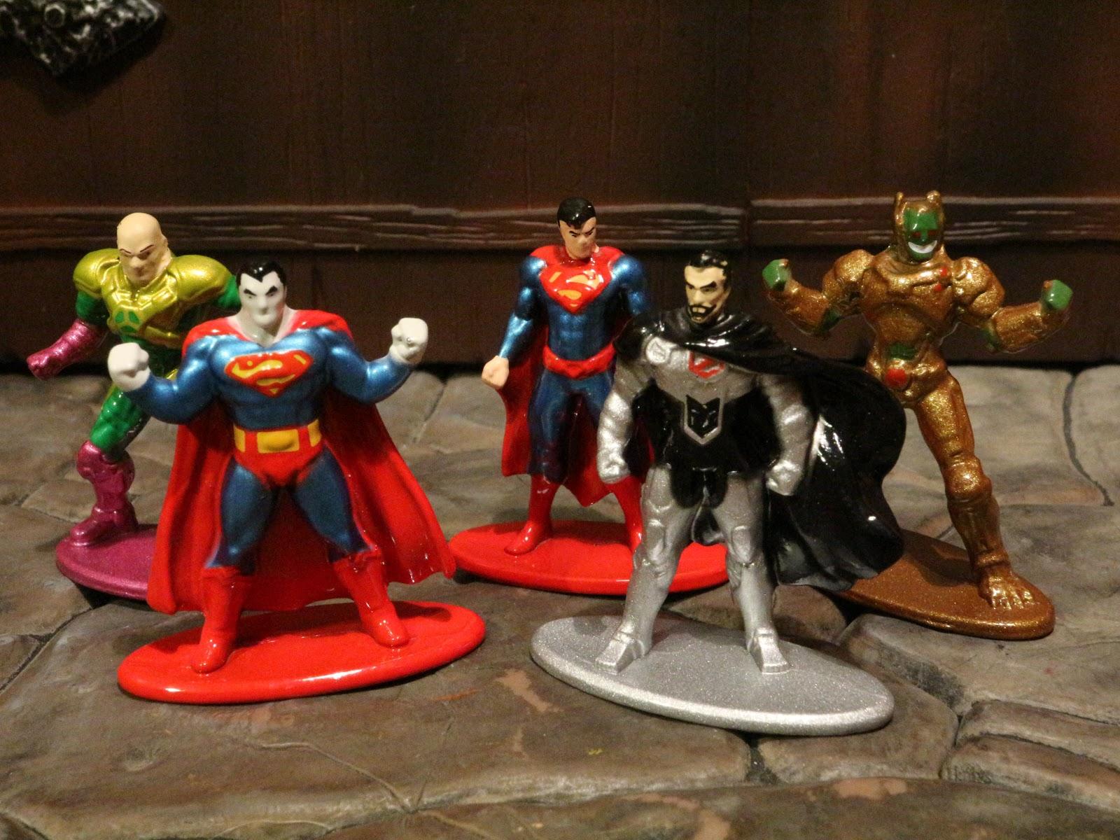 5 Figures Superman,Supergirl,Batman,Aquaman,Lex Luthor Pack B New Nano Metal