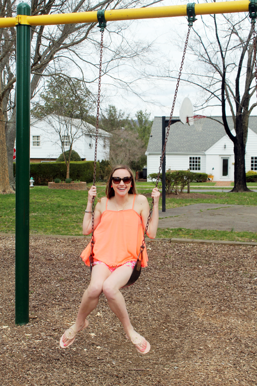 2016 spring fling link up, coral top, lilly pulitzer shorts, jack rogers, kate spade