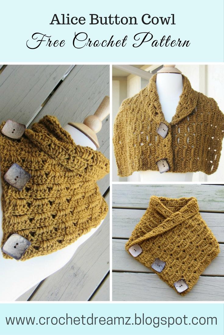 Alice Button Cowl, Free Crochet Cowl Pattern - Crochet Dreamz