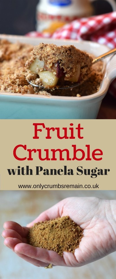 Fruit crumble recipe, consisting of pears plums and apples, made with panela sugar produced in Colombia from organic dried sugarcane juice