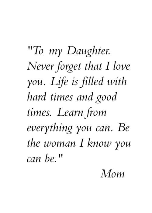to my dear daughter from mom