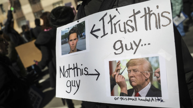 March for Our Lives rally. I trust this guy (student) not this guy (Trump). The Young are at the Gates. marchmatron.com
