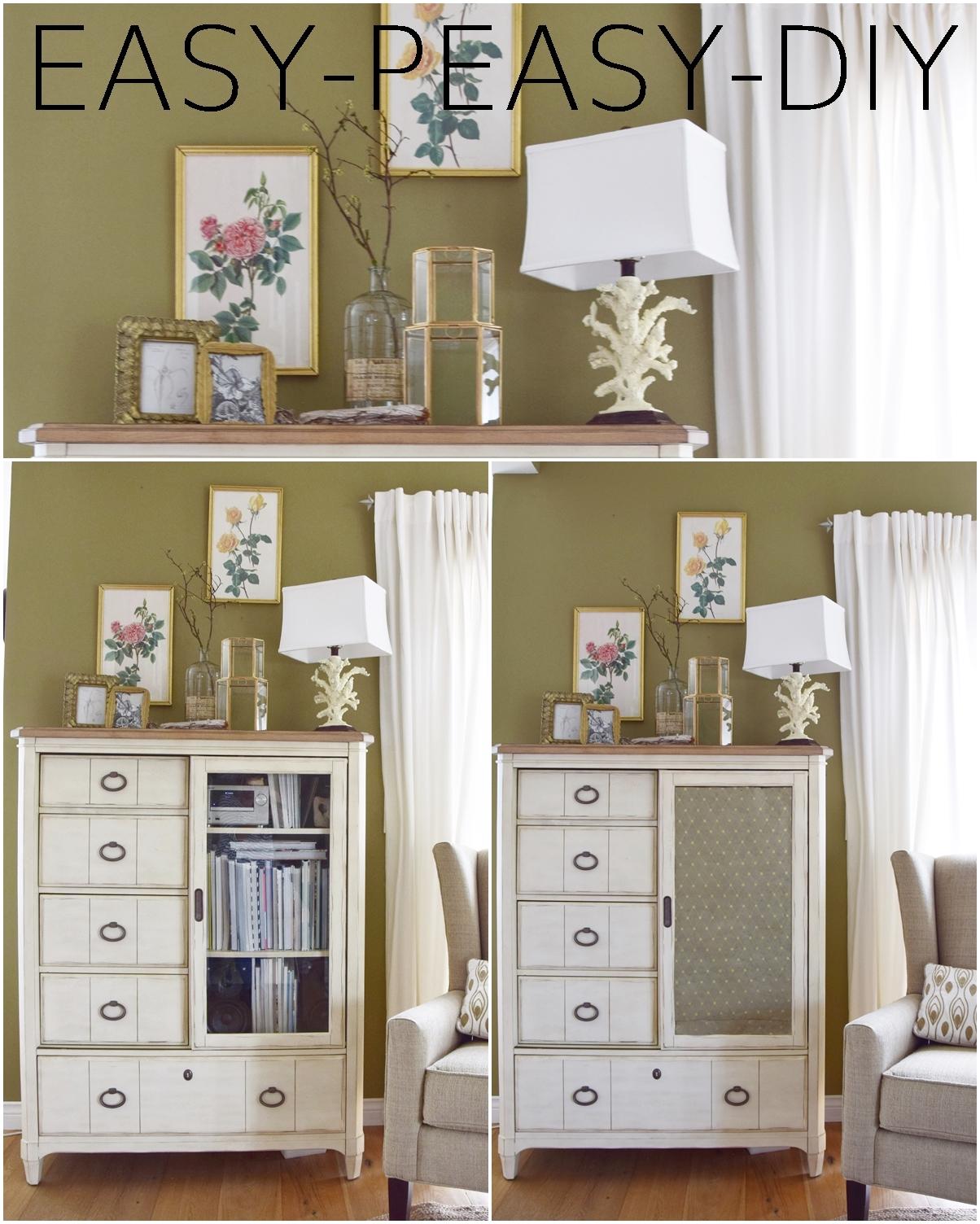 Glastür Schrank DIY Deko dekoration highboard wohnzimmer bilder diy dekoidee konsole
