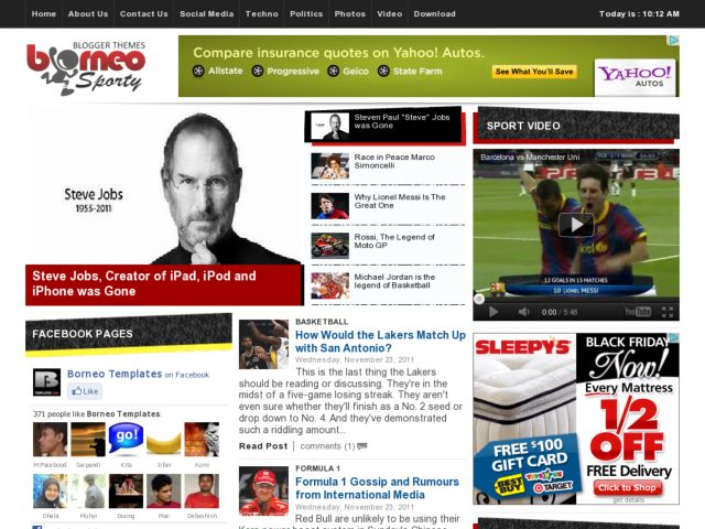 Borneo Sporty Blogger Template