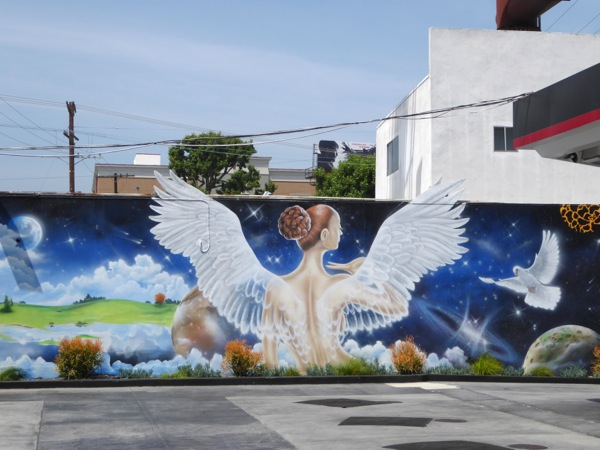 Henry Goods wall mural angel West LA