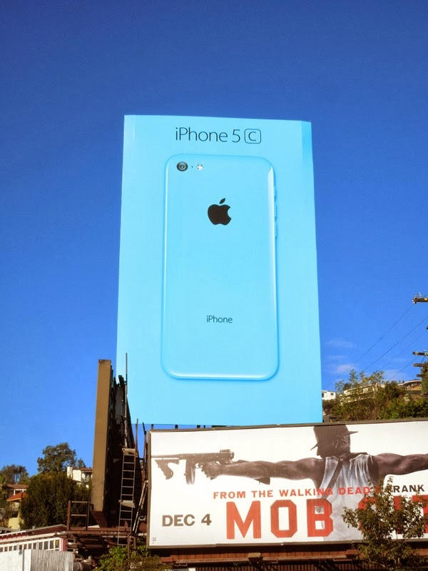 Giant Apple iPhone 5c blue billboard