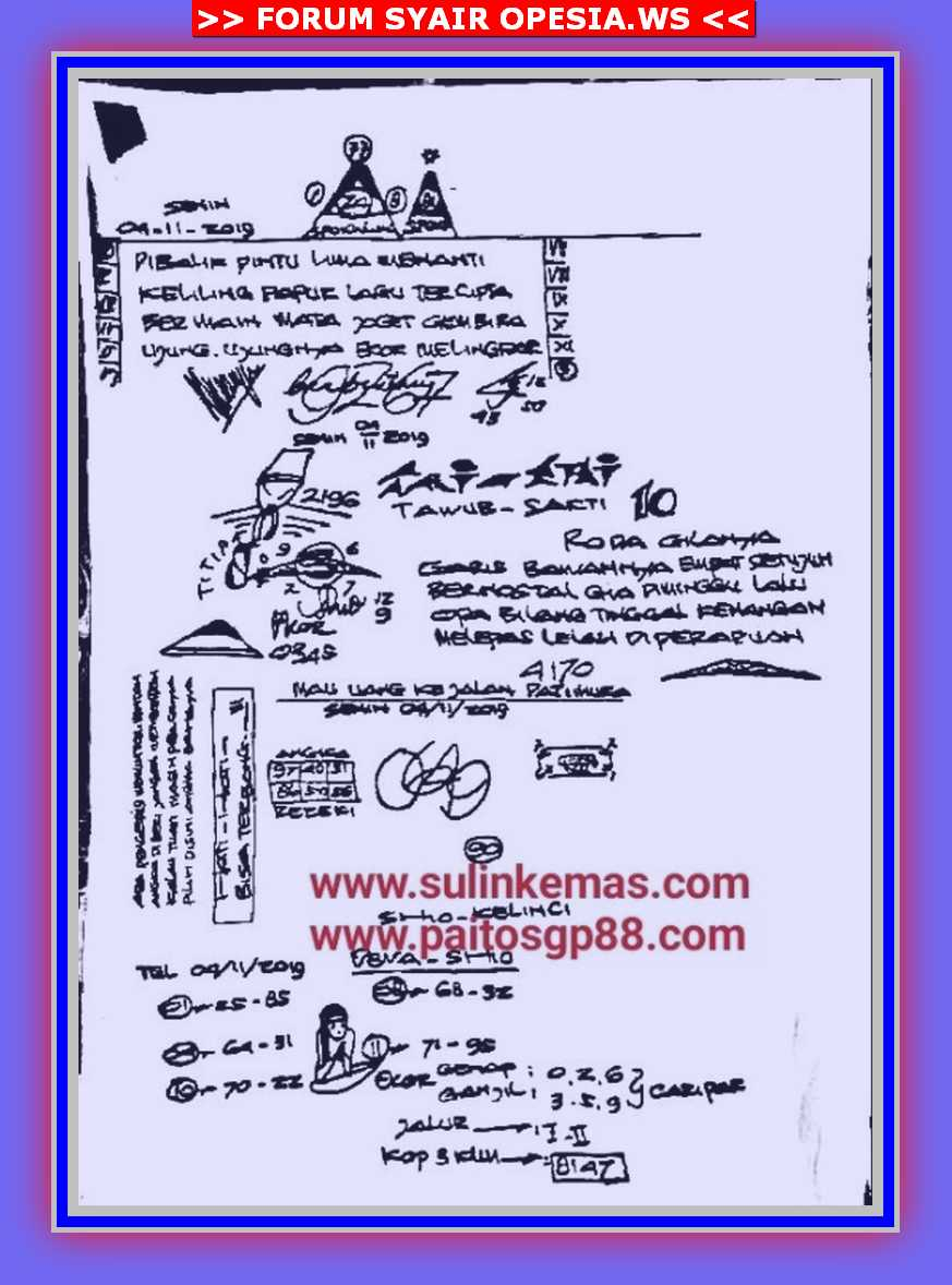 Kode syair Singapore Senin 4 November 2019 26