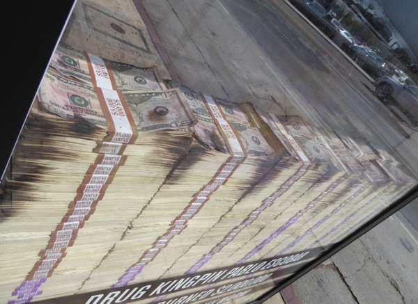 Narcos season 2 bus shelter installation fake money