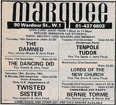 Twisted Sister played the Marquee Club in London, England on December 19, 1982