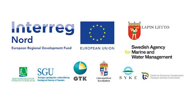 Hankkeen rahoittajien logot: Interreg Nord, Lapin liitto, Swedish Agency for Marine and Water Management, Metsähallitus, SGU, GTK, Länsstyrelsen Norrbotten, SYKE ja ELY.