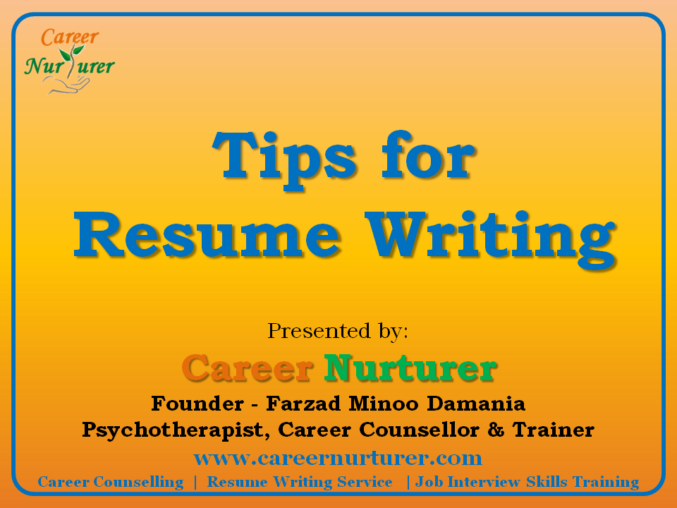 tips for writing a resume 2013