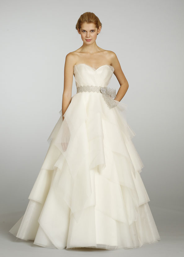 dreamy ball gown wedding dress with metallic belt