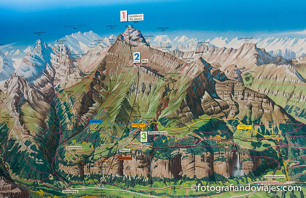 mapa Teleferico Schilthorn Piz Gloria