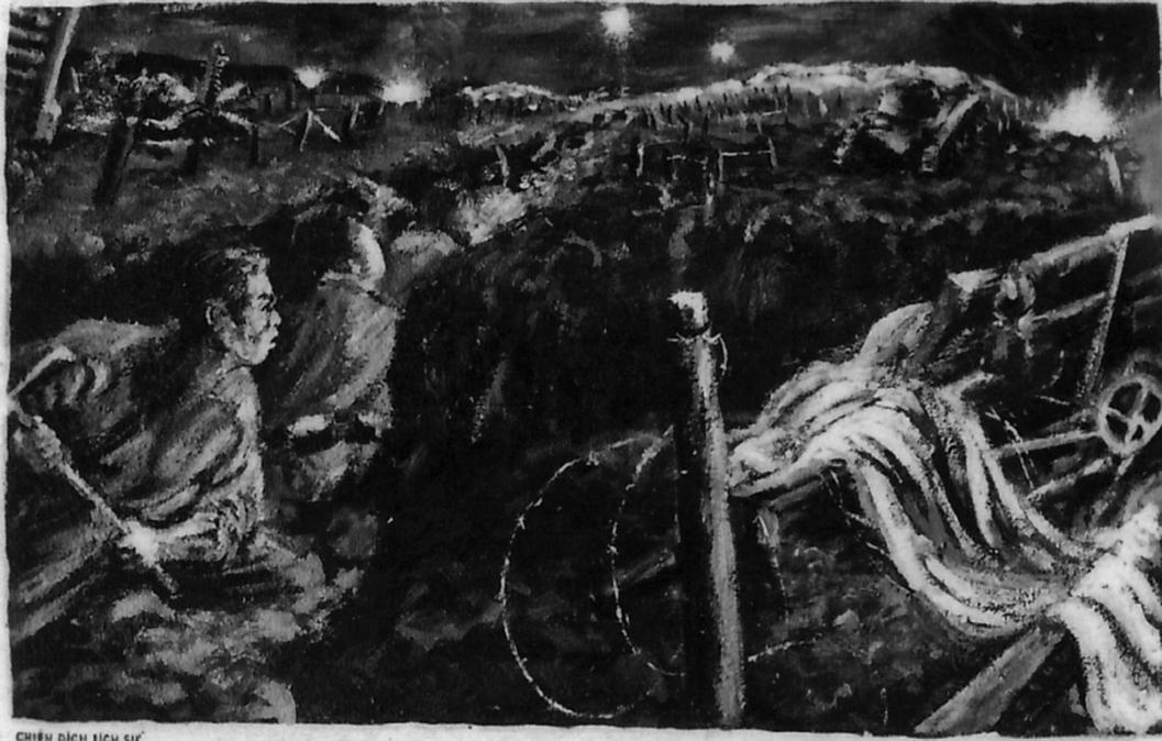 """Những Ảnh Kỷ Niệm Trong Thời Điểm Này Gồm 2 Tấm Chụp Lại Tranh Vẽ Về Chiến  Dịch Có Ghi Chú Là """"Khép Chặt Vòng Vây"""" Và """"Lá Cờ Của Bác""""."""